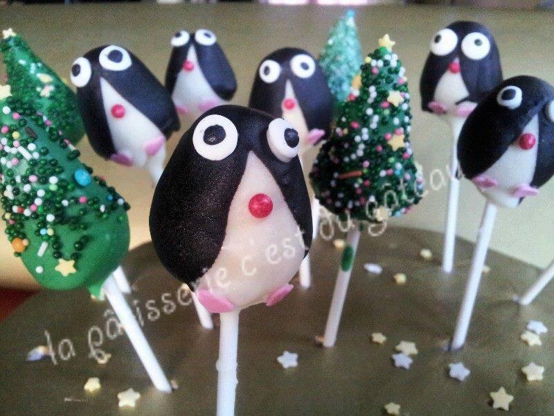 Cakepops pinguins et sapins